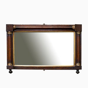 Antique English Regency Rectangular Rosewood and Glass Overmantel Mirror, 1820s