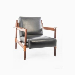 Scandinavian Modern Teak and Leather Lounge Chair, 1950s