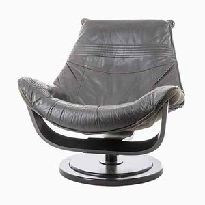 Vintage Swedish Leather Swivel Lounge Chair from Nelo Möbel, 1980s