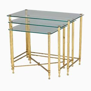 Glass Top and Brass Nesting Tables, 1950s, Set of 3