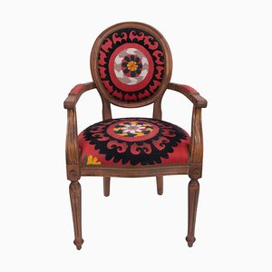 Vintage Wooden Suzani Armchair in Bergere Style
