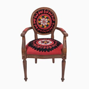 Bohemian Suzani Embroidery Armchair in Bergere Style