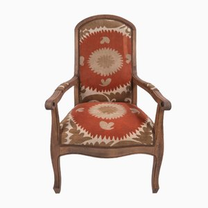 Boho Chic Suzani Embroidered Bergere Chair