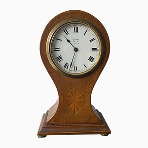 Antique Edwardian Inlaid Mahogany Balloon-Shape Mantel Clock from Asprey London