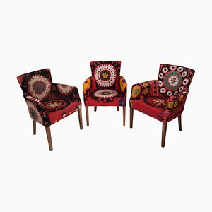 Suzani Bergere Armchairs, Set of 3