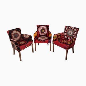 Suzani Bergere Armchairs, Set of 3