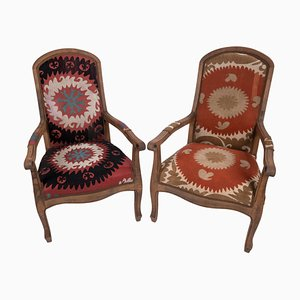 Suzani Bergere Armchairs, Set of 2
