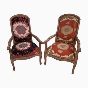 Suzani Bergere Armchairs, Set of 2