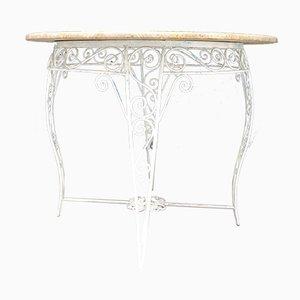 Gartentisch aus Schmiedeeisen mit Marmorplatte, 1960er