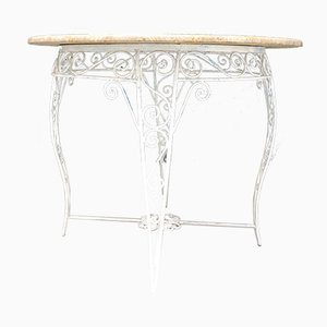 Marble Topped Wrought Iron Garden Table, 1960s
