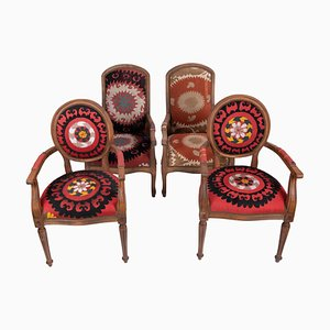 Wooden Suzani Armchairs in Bergere Style, Set of 4