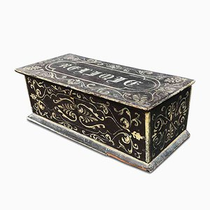 French Grey Lacquered Oak Box Relic, 1800
