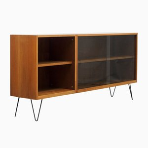 2-Piece Glass and Walnut Cabinet, 1960s
