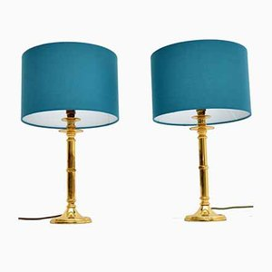 Vintage Brass Table Lamps, 1970s, Set of 2