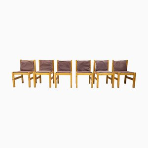 Pine and Canvas Sling Dining Chairs, 1968, Set of 6