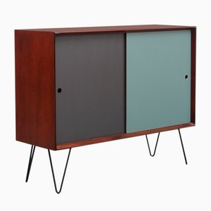 Small Teak Sideboard with Color Reversible Doors, 1960s
