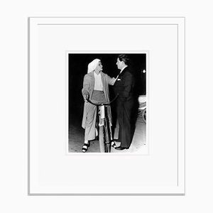 Katharine Hepburn Chatting on Her Bicycle Archival Pigment Print Framed in White by Everett Collection