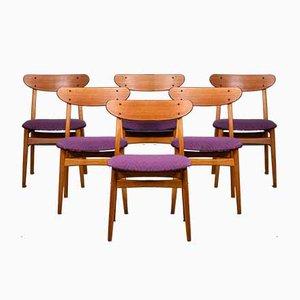 Dänische Mid-Century Teak & Eiche Esszimmerstühle, 6er Set