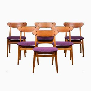 Mid-Century Danish Teak and Oak Dining Chairs, Set of 6