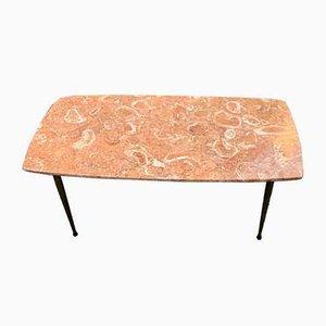Tavolino da caffè in marmo e ottone, anni '60