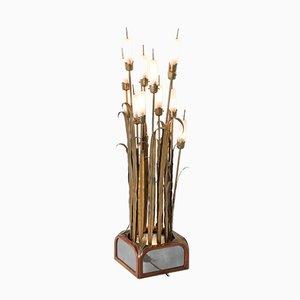 Brass Reed Floor Lamp, 1930s