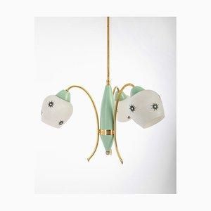 Vintage Modern Glass 3-Light Ceiling Lamp, 1960s