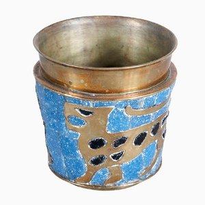 Vaso de latón y mosaico hecho a mano de Salvador Teran, años 60