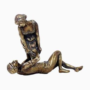 Bronze Couple Scene Sculpture, 1950s