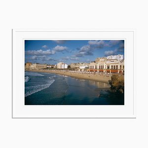 Biarritz Seafront Oversize C Print Framed in White by Slim Aarons