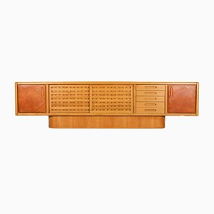 Beech and Leather Sideboard by Marenco Mario, Italy, 1970s