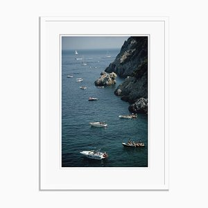 Boats in Tuscany Oversize C Print Framed in White by Slim Aarons