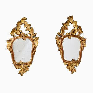 Small Italian Gilded Mirrors, 1930s, Set of 2