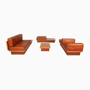 Beech & Leather Living Room Set by Mario Marenco, Italy, 1970s, Set of 6