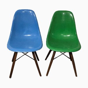 Mid-Century Turquoise Blue Walnut Chair by Charles & Ray Eames for Herman Miller