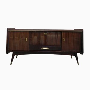 Vintage Belgian Brass and Mahogany Sideboard, 1950s