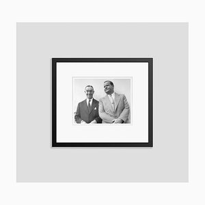 Laurel and Hardy on Vacation Silver Gelatin Resin Print Framed in Black by Bettmann