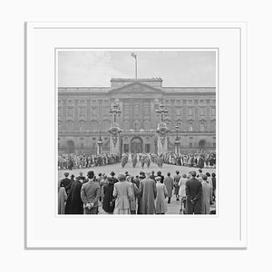 Buckingham Palace Silver Fibre Gelatin Print Framed in White by Slim Aarons