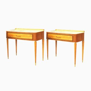 Mid-Century Modern Italian Beech & Marble Top Bedside Tables, 1960s, Set of 2