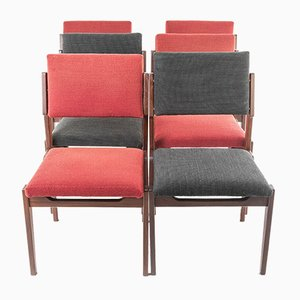 Vintage Wood & Fabric Dining Chairs from Arflex, 1950s, Set of 6