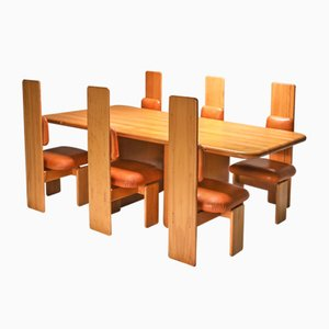 Beech and Leather Dining Table & Chairs Set by Mario Marenco, Italy, 1970s, Set of 7