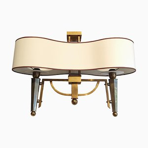 Art Deco Bi-Colored Brass Flush Mount Lamp, 1930s