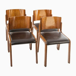 Vintage Wood and Leather Dining Chairs, 1950s, Set of 4