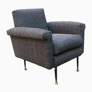 Mid-Century Modern Italian Textured Grey Fabric & Metal Armchair, 1960s