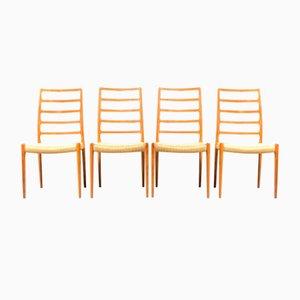 Vintage Teak Modell 83 Esszimmerstühle von Niels Otto Møller für JL Møllers, 1970er, 4er Set
