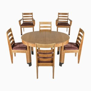 Rationalist Oval Dining Table & Chairs Set in Oak, Holland, 1920s, Set of 5