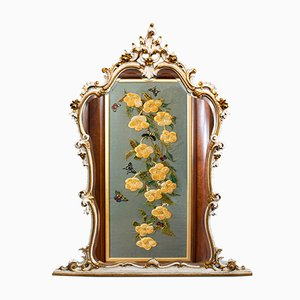 Large Antique French Gilt Gesso Overmantle Mirror, 1900s
