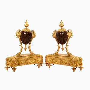 19th Century Louis XVI Gilt Bronze Ram Andirons, Set of 2