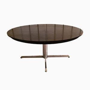 Blackened Wood Dining Table with Chrome Foot, 1970s