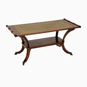 Antique Regency Style Mahogany Leather Top Coffee Table, 1930s