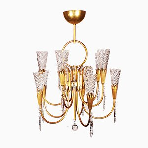 Golden Brass and Crystal Glass Chandelier from Baccarat, 1950s